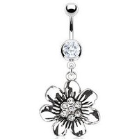 Amazon.com: Body Accentz Belly Button Ring Navel Vintage Casted Flower CZ Body Jewelry 14 Gauge HO575: Jewelry