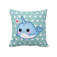 Cute baby narwhal on polka dots pillow from Zazzle.com