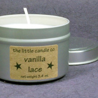 Vanilla Lace Soy Candle Tin - Hand Poured and Highly Scented Container Candles