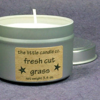 Fresh Cut Grass Soy Candle Tin - Hand Poured and Highly Scented Container Candles
