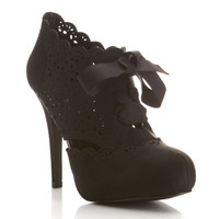 Simples Black Laser Cut Heel - Heels - Shoes - Miss Selfridge