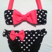 Polka Dot Bikini with Pink Bow by misskate92 on Etsy