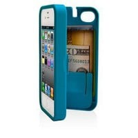EYN, Turquoise Case for iPhone 4/4S with built-in storage space for credit cards/ID/money: Cell Phones & Accessories