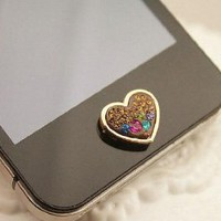 Brilliant Valentine Hearts Crystal Iphone Home Return Keys Buttons Sticker For iPhone 4S iPhone 5 iPod Touch iPad Repair Fix Replace Replacement: Cell Phones & Accessories
