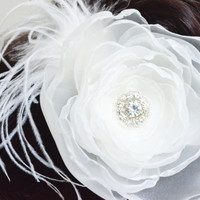 bridal hair flower swarovski rhinestone designed with feather ivory organza alligator clip wedding bridal hair accessory bridesmaids gift