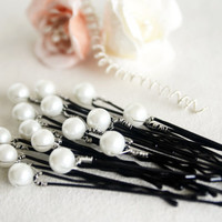white glass pearl hair pin wedding bridal hair pin bridesmaids hair pin Set of 15 Hair Pins