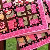 Windows Quilt in Pink Brown Flowers and Dots Original Design Handmade | GracefulArts - Quilts on ArtFire