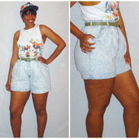 Vintage 1980s High Waist Short Denim Acid Wash