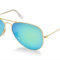 Ray-Ban RB 3025 112/19 Metal Aviator Gold / Green Blue Mirror