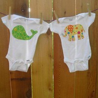 Whale Onesuit Elephant Onesuit Baby Onesuit by aHouseintheWoods