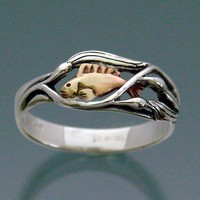 Fish Ring  - Fish in Kelp ring - Sterling silver & Bronze