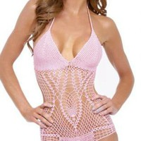 Pink Swimsuit - Sexy Paris Crochet One Piece | UsTrendy