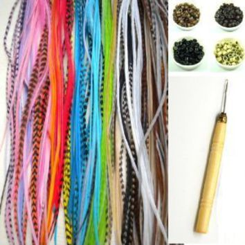 "NEW 7""-11"" Feather Hair Extension Kit 10 Long Multi color Genuine Single Feathers + 10 Micro Beads & hook Tool (You will get mixed colors): Beauty"