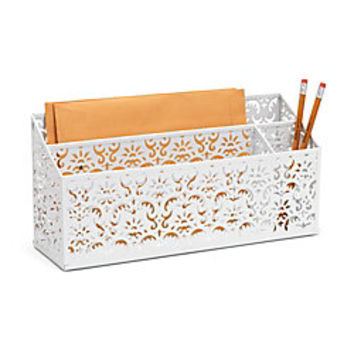 Realspace brocade desk organizer white by from office depot - Desk organizer white ...