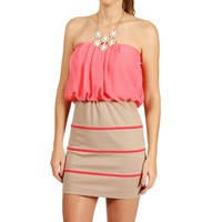 Taupe/Coral Contrast Mini Dress