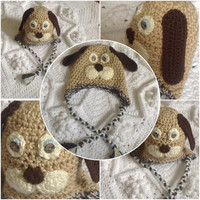 Hand Crochet Thick Snuggly Adorable Puppy Face w- Floppy Pound Puppy Ears, ear flaps cute hat- Baby Newborn Infant Toddler Beanie Photo Prop