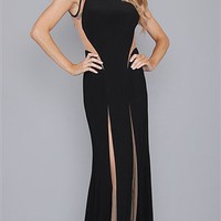 Jovani Black and Nude Sheer Long Dress