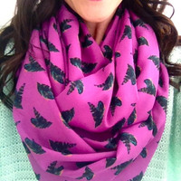 Fuchsia and Feathers Infinity Circle Scarf