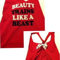 Beauty Trains Like A Beast Work-out Racerback Tank Top
