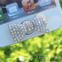 Easter Spring Special Sale 1PC  Bling Crystal Big Bow Apple iPhone Home Button Sticker, Cell Phone Charm for iPhone 5,4,4g,4s, iPad