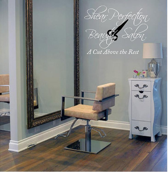 Personalized beauty salon vinyl wall from for Salon pictures for wall