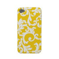 Damask in Banana Cream Pie Iphone 4 Cover