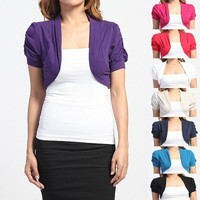 MOGAN CUTE Puff Short Sleeves Knit BOLERO Cropped Open Cardigan Shrug Jacket S~L
