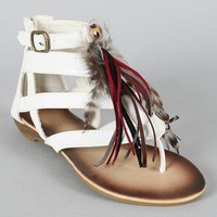 Wild-1 Feather Tassel Gladiator Thong Flat Sandal