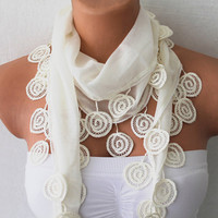 Ivory Cream Cotton Scarf with Lace by fairstore on Etsy