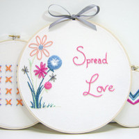 Spring Flower Hand Embroidered Wall Art Spread by MissSarahMac