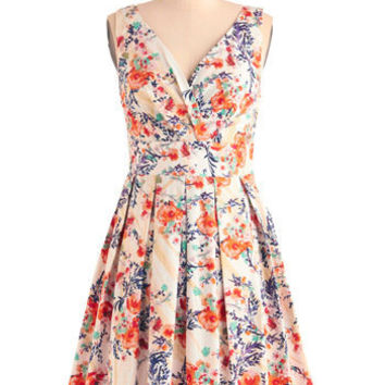 Floral Palate Dress in Fire Bouquet | Mod Retro Vintage Dresses | ModCloth.com