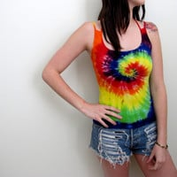 Tie Dye Tank Top Womens Hippie Rainbow Festival Size Small Summer