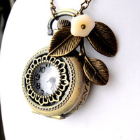Pocket Watch Necklace  Leaf Charm and CreamFlower by mktENGINEER