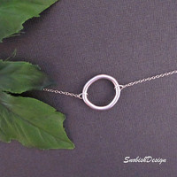 Circle Necklace Dainty Silver Necklace Sterling by SnobishDesign