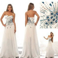 New Long Sweetheart Rhinestone Bridesmaid Evening Prom Ball Dresses/Wedding Gown