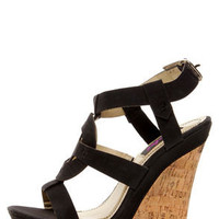Yoki Celia 12 Black Sun Cross T-Strap Platform Wedge Sandals