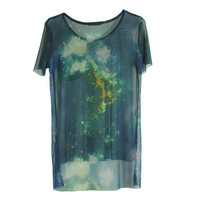 Openwork Mesh Galaxy Printing T-shirt from Charming Galaxy