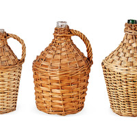 One Kings Lane - Lillian August - Vintage Wicker Wine Bottles, Set of 3