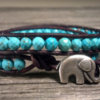 GOOD LUCK Elephant, Magnesite Turquoise Double Leather Wrap Bracelet, Shabby Chic, Bohemian