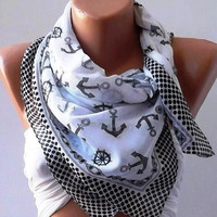 Marine Shawl  Black and White Shawl  Cotton Scarf  by womann