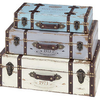 One Kings Lane - The Blues - S/3 Pastel Wood Trunks