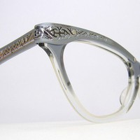 Vintage 50s Duchess Grey Cat Eye Eyeglasses by Vintage50sEyewear