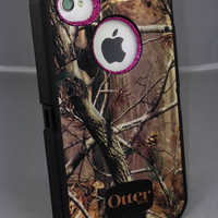 Otterbox Case iPhone 4/4S Glitter Cute Sparkly Bling Defender Series Custom Case AP/Raspberry