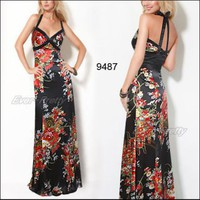 BNWT Elegant Halter Flower Print V-Neck Evening Dresses | Ever-Pretty