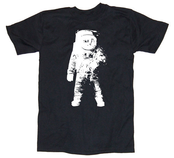 Mens MOON MAN geek T Shirt astronaut shirt black by happyfamily