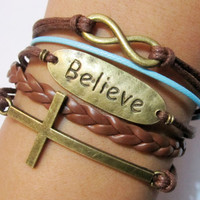 Bracelet-Believe  bracelet / karma bracelet / infinity wish bracelet / cross bracelet