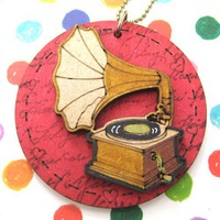 SALE Unique Hand Painted Phonograph Gramophone Wood Pendant Necklace