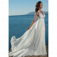 Beach A-line Halter Chiffon&Satin Ivory Wedding Dress Style JD1337
