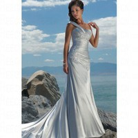 Beach A-line Beaded Lace Silver Satin Wedding Dress Style JD1319