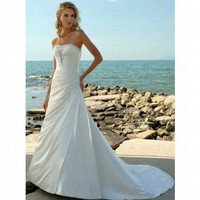 Beach A-line Strapless Ivory Satin Wedding Dress Style AD3300